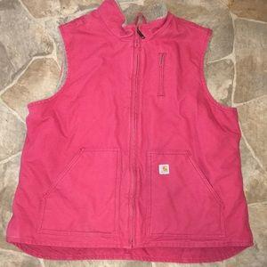 Carhartt xxl pink faux fur lined vest